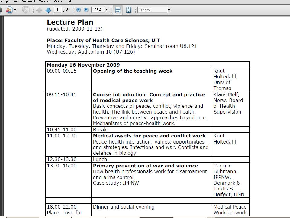 Lecture plan of phmw 2009 peace health and medical work for Lecture plan architecte